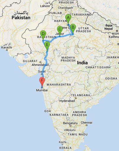 Reiseroute durch Indien